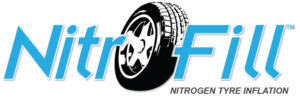 Nitrofill Nitrogen Tyre Inflation logo with blue text in while background